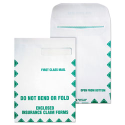 Quality Park Redi-Seal Insurance Claim Form Envelope, Cheese Blade Flap, Redi-Seal Closure, 9 x 12.5, White, 100/Box