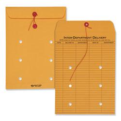 Quality Park Brown Kraft String & Button Interoffice Envelope, #90, One-Sided Five-Column Format, 9 x 12, Brown Kraft, 100/Carton