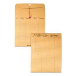 Quality Park Brown Kraft String & Button Interoffice Envelope, #97, Two-Sided Five-Column Format, 10 x 13, Brown Kraft, 100/Carton