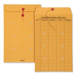 Quality Park Brown Kraft String & Button Interoffice Envelope, #98, One-Sided Five-Column Format, 10 x 15, Brown Kraft, 100/Carton