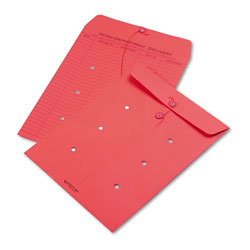 Quality Park Colored Paper String & Button Interoffice Envelope, #97, One-Sided Five-Column Format, 10 x 13, Red, 100/Box