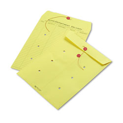 Quality Park Colored Paper String & Button Interoffice Envelope, #97, One-Sided Five-Column Format, 10 x 13, Yellow, 100/Box