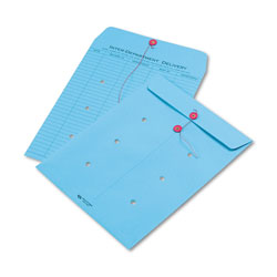 Quality Park Colored Paper String & Button Interoffice Envelope, #97, One-Sided Five-Column Format, 10 x 13, Blue, 100/Box