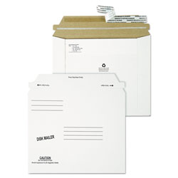Quality Park Economy Disk/CD Mailer, Square Flap, Self-Adhesive Closure, 7.5 x 6.06, White, 100/Carton