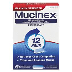 Mucinex Maximum Strength Expectorant, 28 Tablets/Box, 24 Boxes/Carton