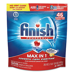Finish® Powerball Max in 1 Super Charged Ultra Degreaser Dishwasher Tabs, Lemon, Wrapper-Free, 46/Pack