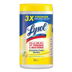Lysol Disinfecting Wipes, 7 x 8, Lemon and Lime Blossom, 80 Wipes/Canister, 6 Canisters/Carton