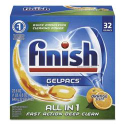 Finish® Dish Detergent Gelpacs, Orange Scent, 32/Box