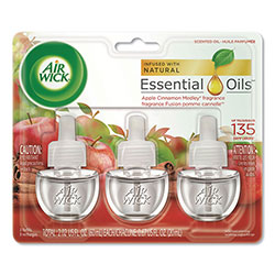 Air Wick Scented Oil Refill, Warming - Apple Cinnamon Medley, 0.67 oz, 3/Pack, 6 Packs/Carton