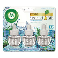 Air Wick Scented Oil Refill, Fresh Waters, 0.67oz, 3/Pack, 6 Packs/Carton