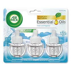 Air Wick Scented Oil Refill, Warming - Fresh Linen, 0.67 oz, 3/Pack, 6 Packs/Carton
