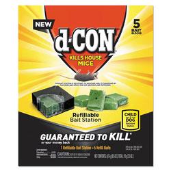 d-Con® Refillable Bait Station and Refills, 1 Bait Block;5 Refills/Box, 8/Carton