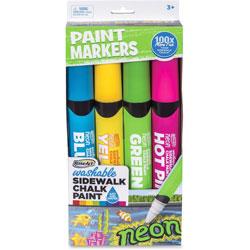 The Board Dudes Jumbo sidewalk Chalk Paint Markers, Washable, 4/PK, Assorted