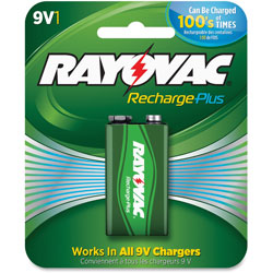 Rayovac Rechargeable NiMH 9V Batteries, 6/CT, GN