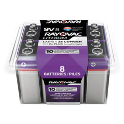Rayovac Lithium Batteries, 9V, 8/Pack