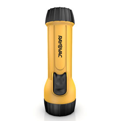 Rayovac Industrial Tough Flashlight, 2 D Batteries (Sold Separately), Yellow/Black