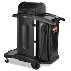 Rubbermaid Executive High Security Janitorial Cleaning Cart, 23.1w x 39.6d x 27.5h, Black