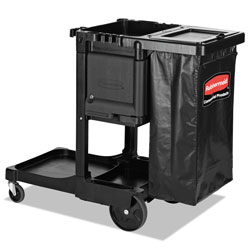Rubbermaid Executive Janitorial Cleaning Cart, 12.1w x 22.4d x 23h, Black