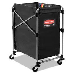 Rubbermaid Collapsible X-Cart, Steel, Four Bushel Cart, 20.33w x 24.1d x 34h, Black/Silver