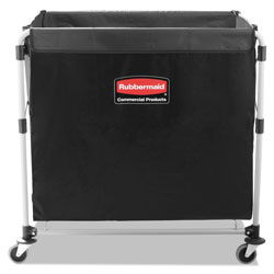 Rubbermaid Collapsible X-Cart, Steel, Eight Bushel Cart, 24.1w x 35.7d x 34h, Black/Silver