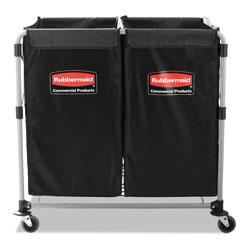 Rubbermaid Collapsible X-Cart, Steel, 2 to 4 Bushel Cart, 24.1w x 35.7d x 34h, Black/Silver