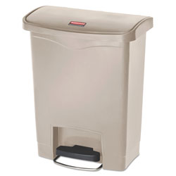 Rubbermaid Slim Jim Resin Step-On Container, Front Step Style, 8 gal, Beige