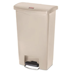 Rubbermaid Slim Jim Resin Step-On Container, Front Step Style, 13 gal, Beige