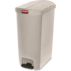 Rubbermaid Slim Jim Resin Step-On Container, End Step Style, 18 gal, Beige