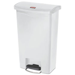 Rubbermaid Slim Jim Resin Step-On Container, Front Step Style, 13 gal, White