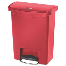 Rubbermaid Slim Jim Resin Step-On Container, Front Step Style, 8 gal, Red