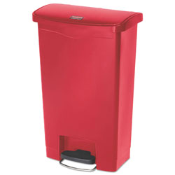Rubbermaid Slim Jim Resin Step-On Container, Front Step Style, 13 gal, Red