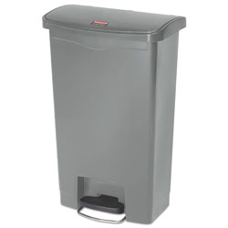Rubbermaid Slim Jim Resin Step-On Container, Front Step Style, 13 gal, Gray