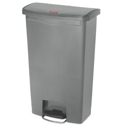 Rubbermaid Slim Jim Resin Step-On Container, Front Step Style, 18 gal, Gray