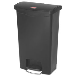 Rubbermaid Slim Jim Resin Step-On Container, Front Step Style, 13 gal, Black