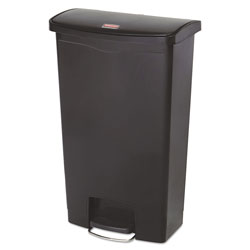 Rubbermaid Slim Jim Resin Step-On Container, Front Step Style, 18 gal, Black