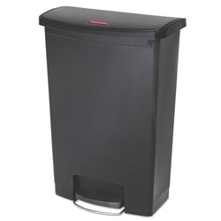 Rubbermaid Slim Jim Resin Step-On Container, Front Step Style, 24 gal, Black