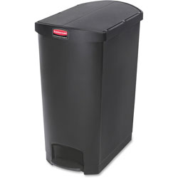 Rubbermaid Slim Jim Resin Step-On Container, End Step Style, 24 gal, Black