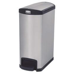 Rubbermaid Slim Jim Stainless Steel Step-On Container, End Step Style, 13 gal, Black