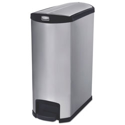 Rubbermaid Slim Jim Stainless Steel Step-On Container, End Step Style, 24 gal, Black