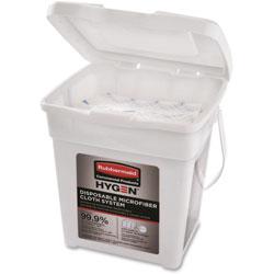 Rubbermaid Disposable Microfiber Cloth Starter Kit, White/Blue, 160 Cloths w/Charging Tub