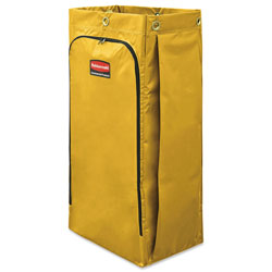 Rubbermaid Vinyl Cleaning Cart Bag, 34 gal, 17.5 in x 33 in, Yellow