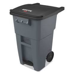Rubbermaid Brute Step-On Rollouts, Square, 50 gal, Gray