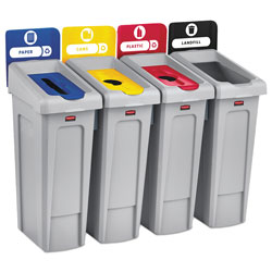 Rubbermaid Slim Jim Recycling Station Kit, 92 gal, 4-Stream Landfill/Paper/Plastic/Cans