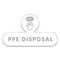 Rubbermaid Medical Decal, PPE DISPOSAL, 9.5 x 5.6, White