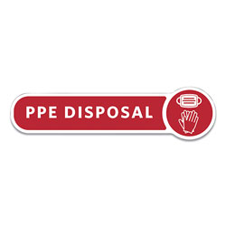 Rubbermaid Medical Decal, PPE DISPOSAL, 10 x 2.5, Red