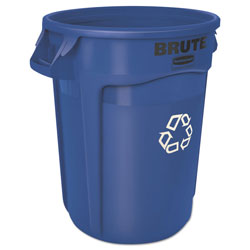 Rubbermaid Brute Recycling Container, Round, 32 gal, Blue