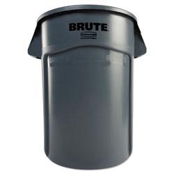 Rubbermaid Round Plastic Outdoor Trash Can, 44 Gallon, Gray