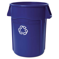 Rubbermaid Brute Recycling Container, Round, 44 gal, Blue