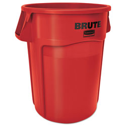 Rubbermaid Brute Vented Trash Receptacle, Round, 44 gal, Red
