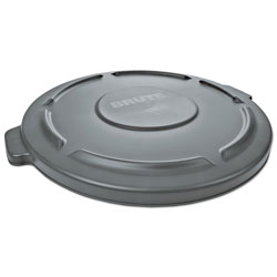 Rubbermaid Round Flat Top Lid, for 55-Gallon Round Brute Containers, 26 3/4 in, dia., Gray